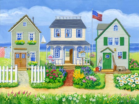 Beach Cottages by Geraldine Aikman art print