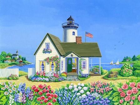 Lighthouse Cottage by Geraldine Aikman art print