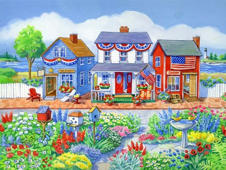 Red White and Blue Shops by Geraldine Aikman art print