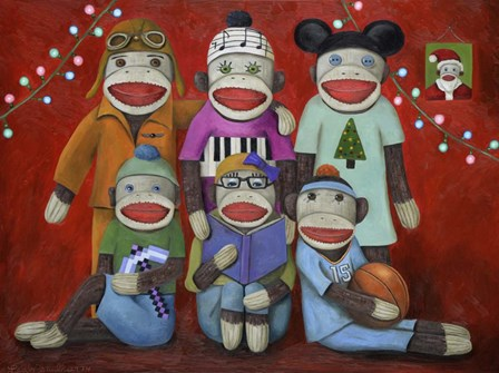 Sock Doll Family Portrait by Leah Saulnier art print
