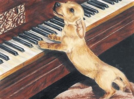Dachsund Playing Piano by Barbara Keith art print