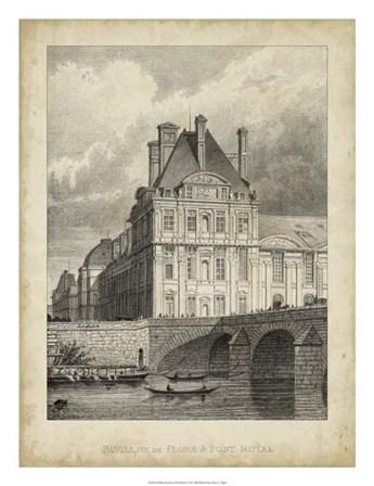Pavillon de Flore & Pont Royal by A.Pugin art print