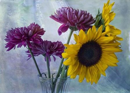 Mums & Sunflowers by Bob Rouse art print