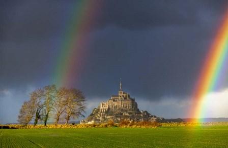 Double Rainbow In Mont Saint Michel by Mathieu Rivrin art print