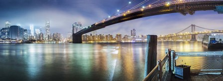 Brooklyn Bridge Pano 2-Color by Moises Levy art print