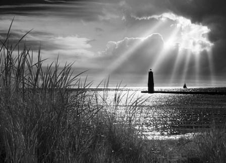 Frankfort Lighthouse and Sunbeams, Frankfort, Michigan '13-IR by Monte Nagler art print