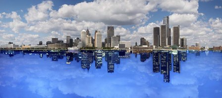 Detroit Day And Night, Detroit, Michigan 07 - Color Pan by Monte Nagler art print
