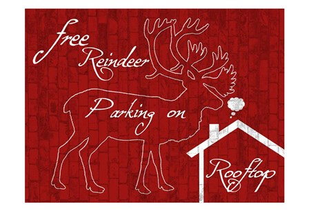 Free Reindeer Parking by Sheldon Lewis art print