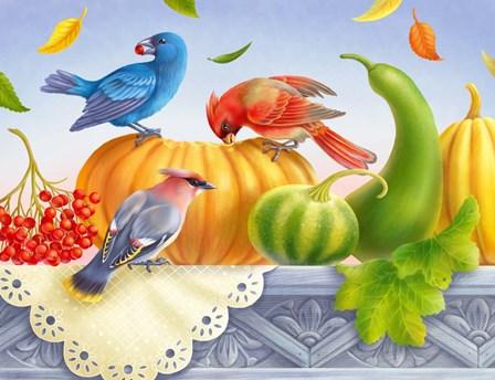 Birds And Pumpkins by Olga Kovaleva art print