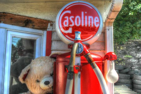 Old Gas Pump and Teddy by Robert Goldwitz art print