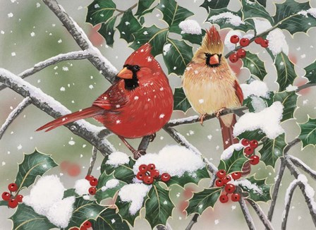 Snowy Perch - Cardinals by William Vanderdasson art print