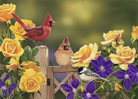 Yellow Roses and Songbirds by William Vanderdasson art print