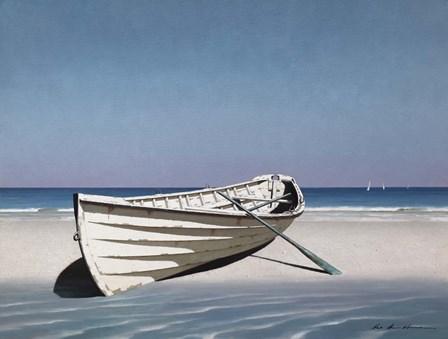 White Boat On Beach by Zhen-Huan Lu art print