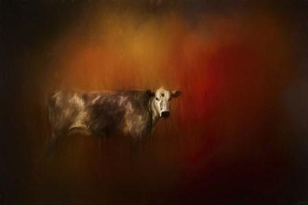 A Cow In Autumn by Jai Johnson art print