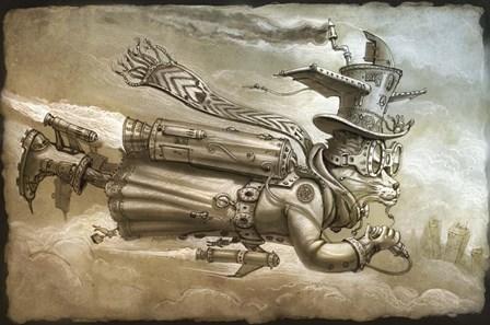 Steampunk Cat Rocketeer by Jeff Haynie art print