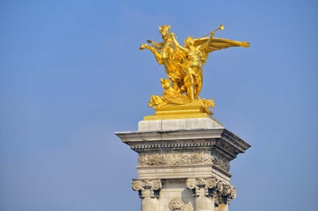 Golden Fame Statue On Pont Alexandre III - I by Cora Niele art print