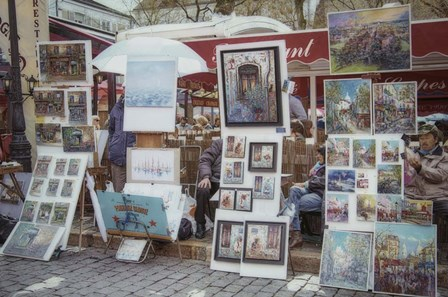 Monmartre Artist Working On Place du Tertre II by Cora Niele art print