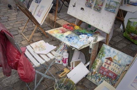 Monmartre Artist Working On Place du Tertre III by Cora Niele art print