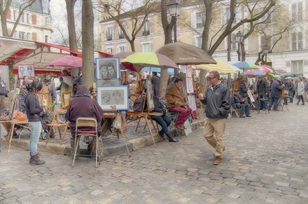 Monmartre Artist Working On Place du Tertre IV by Cora Niele art print