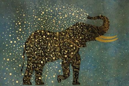 Gold Spraying Elephant by Cora Niele art print