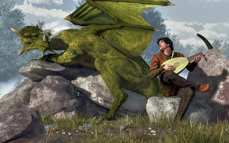 Bard And Dragon by Daniel Eskridge art print