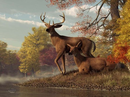Deer On An Autumn Lakeshore by Daniel Eskridge art print