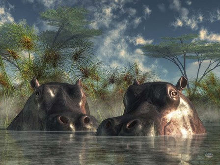 Hippos Coming To Get You by Daniel Eskridge art print