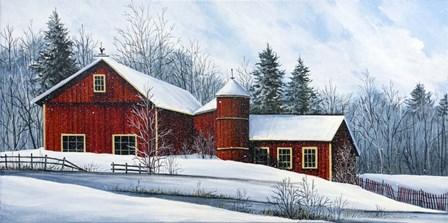 Red Barn Winter by Debbi Wetzel art print