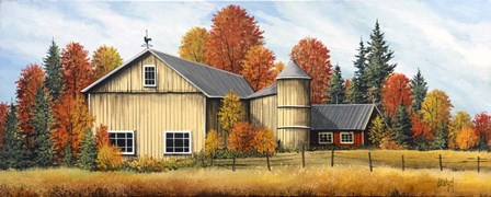 Yellow Barn Fall by Debbi Wetzel art print