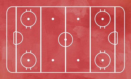 Ice Hockey Rink Red Paint by Sports Mania art print