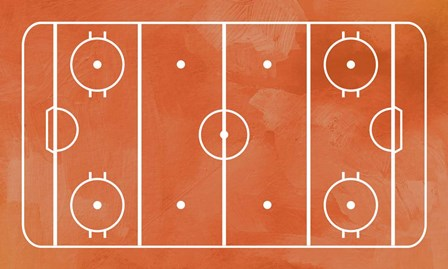 Ice Hockey Rink Orange Paint by Sports Mania art print