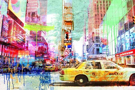 Taxis in Times Square 2.0 by Eric Chestier art print
