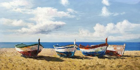 Boats on the Beach by Pierre Benson art print