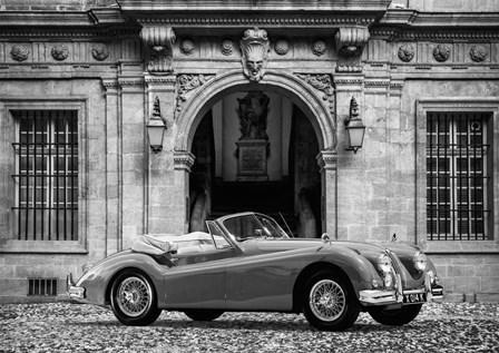 Luxury Car in front of Classic Palace (BW) by Gasoline Images art print