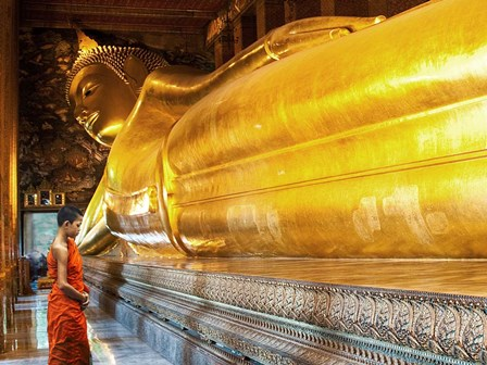 Praying the reclined Buddha, Wat Pho, Bangkok, Thailand by Pangea Images art print