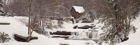Glade Creek Grist Mill in winter, Babcock State Park, West Virginia by Panoramic Images art print