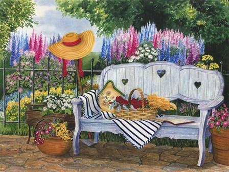 Garden Bench by Mary Irwin art print