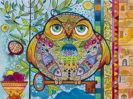 Judaica Folk Owl by Oxana Zaika art print