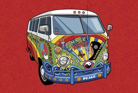 Sixties VW Hippy Van by Ron Magnes art print
