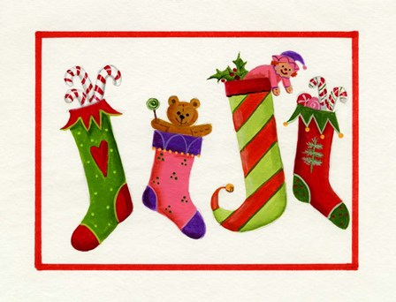 Four Stockings by Beverly Johnston art print