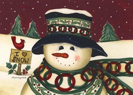I Love Snow by Laurie Korsgaden art print