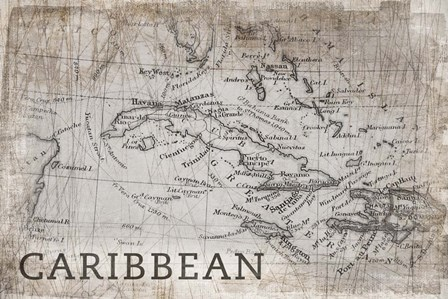 Carribean Map White by PI Galerie art print