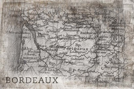 Bordeaux Map White by PI Galerie art print