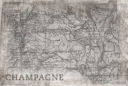 Champagne Map White by PI Galerie art print