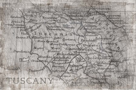 Tuscany Map White by PI Galerie art print