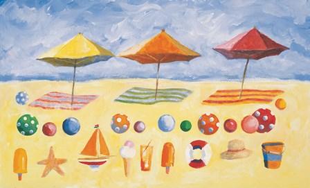 Beach Umbrellas by Michael Clark art print