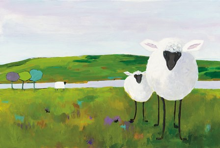 Sheep in the Meadow by Phyllis Adams art print