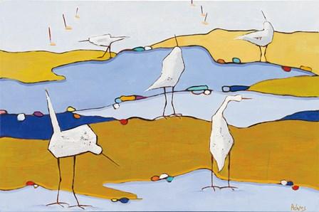 Marsh Egrets VI Dark Sand by Phyllis Adams art print