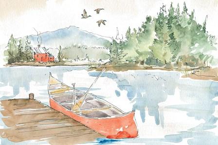 Lakehouse I Red by Anne Tavoletti art print