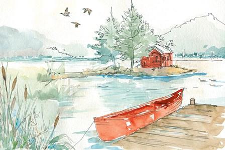 Lakehouse II Red by Anne Tavoletti art print